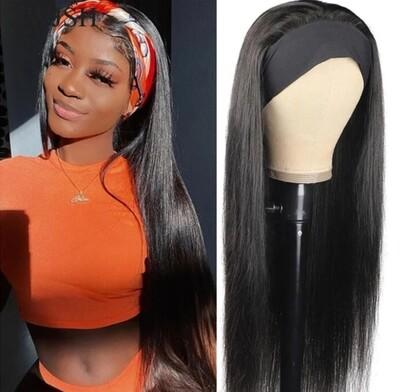"Black Headband Silky Straight Human Hair 22"""