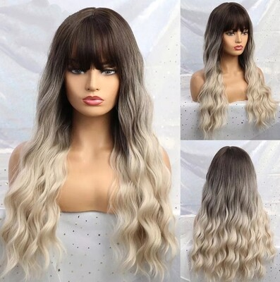 Dark Brown to Ash Ombre Water Wave with Fringe