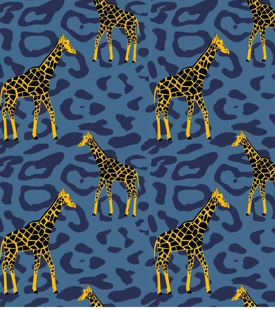 Popeline Giraffe blau