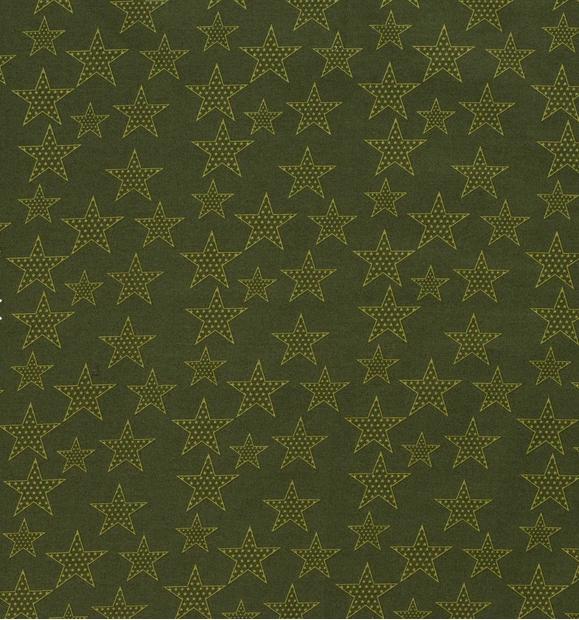 Popeline Sterne Khakigrün