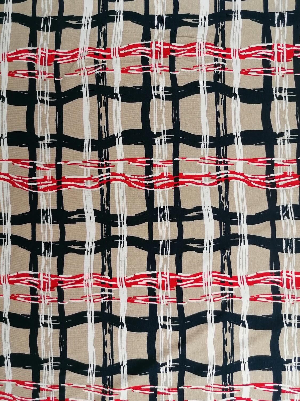 Viscose-Jersey Abstract Streifen beige