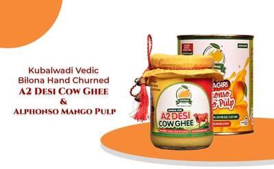 Combo - Kubalwadi Vedic Bilona Hand Churned A2 Desi Cow Ghee & Ratnagiri Alphonso Mango Pulp