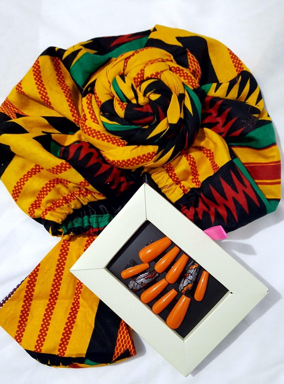 Large Print Kente AfroBonnet Set