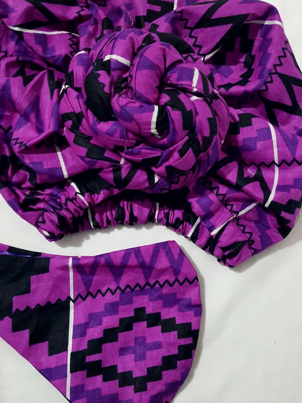Purple Kente AfroBonnet Set