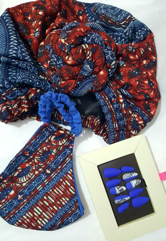 Denim Ankara AfroBonnet Set