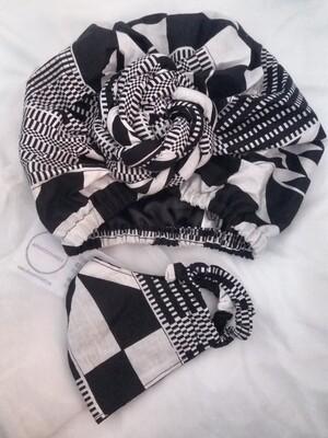 Black and White Kente AfroBonnet Set