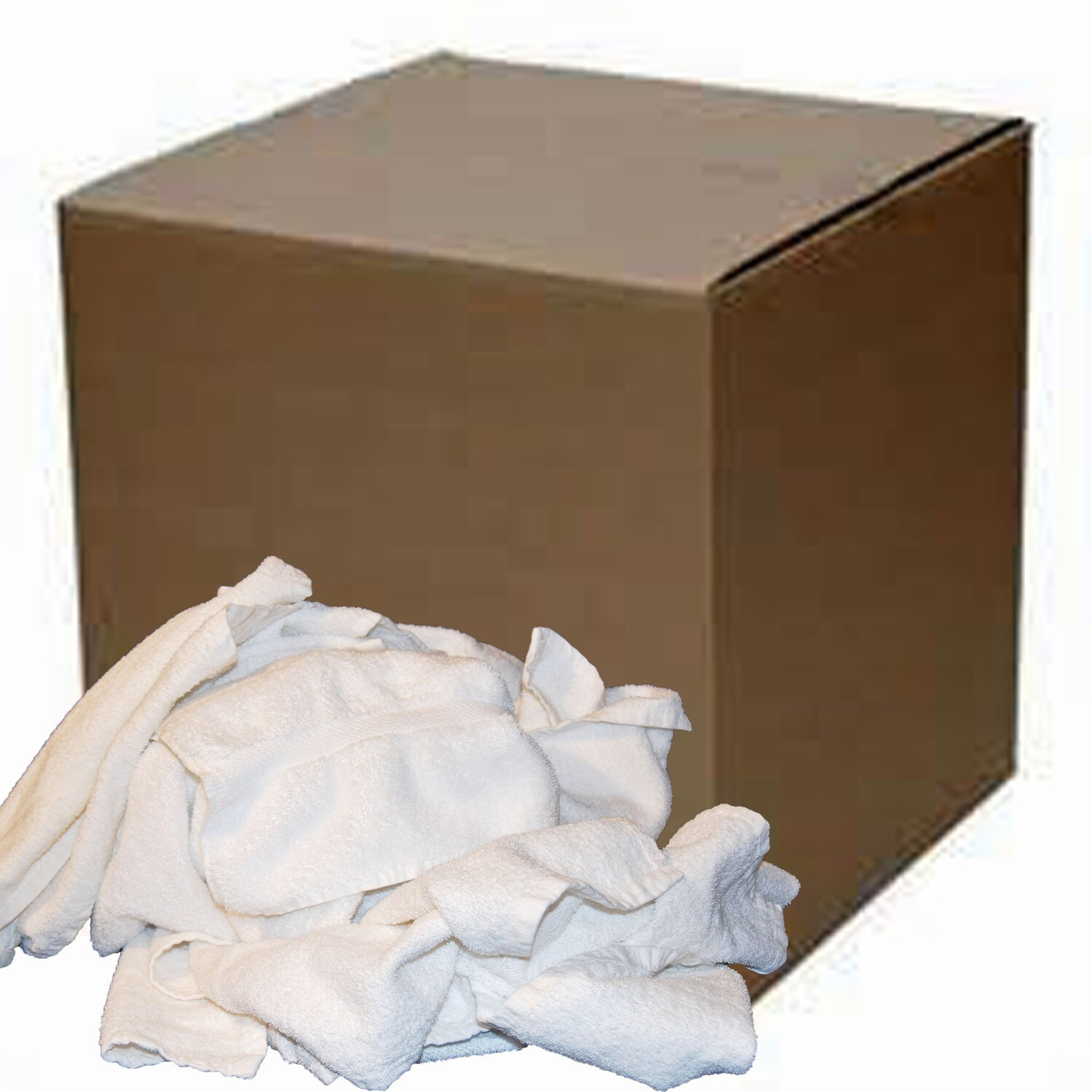 50 Lb. Box of Reclaimed White Terry RAGS