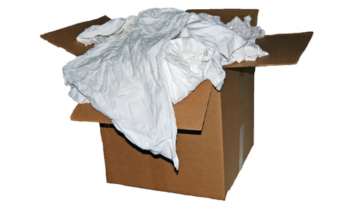 25 Lb. Box of White Cotton Reclaimed T-Shirt Rags- Lint Free