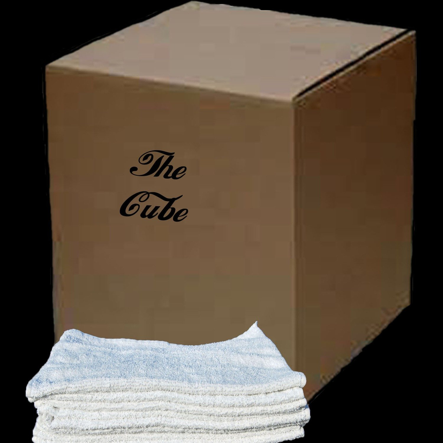 50 Lb. Box of New White Cotton Terry Cleaning Cloths/ Bar Towels  16 X 19