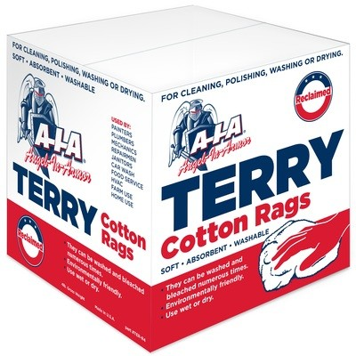 Case of 8 Dispenser Boxes of White Reclaimed Terry Rags