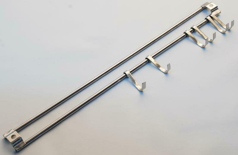 Barra appendi mestoli in acciaio inox con kit con 6 ganci, 33 cm