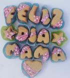Letrero en galletas