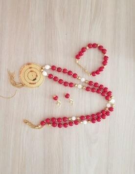 Conjunto 3 piezas accesorios rojo