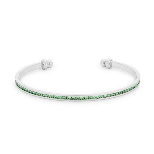 Channel-Set Peridot Green Cubic Zirconia Cuff