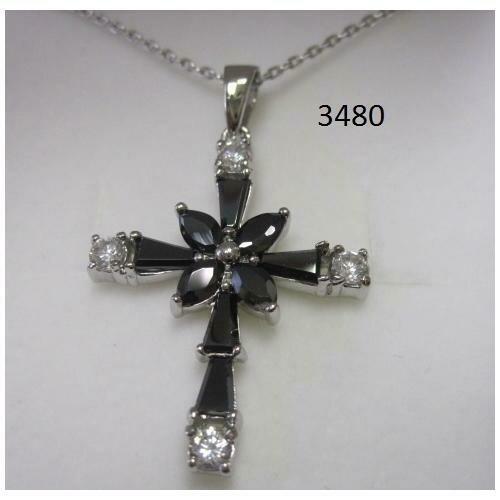 Rhodium Plated Cross Pendant with Black CZ on 18