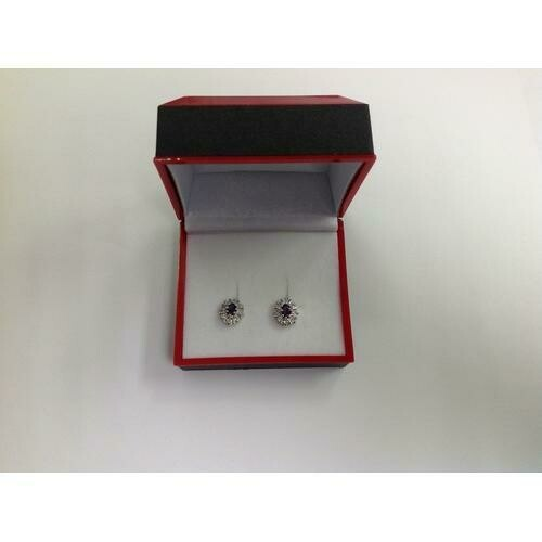 Purple CZ Stud Earring in Gift Box