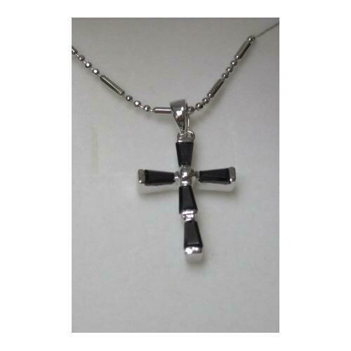 Rhodium Plated Cross Pendant with Black Baguette CZ on 18