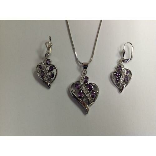 Heart Lavender CZ Necklace and Earring Set Rhodium Plated in Gift Box