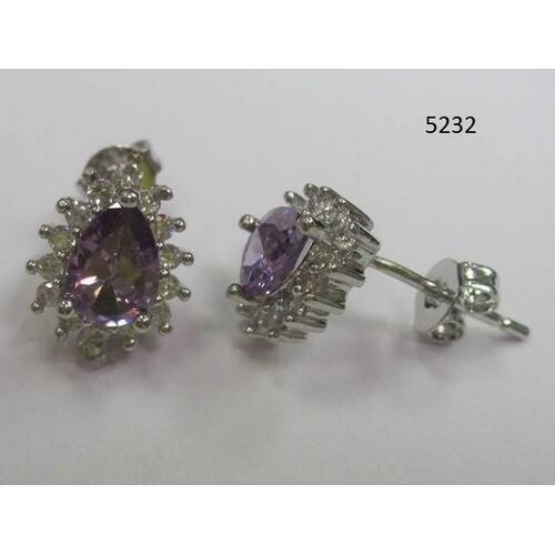 Pear-Shaped CZ Earring Lavender