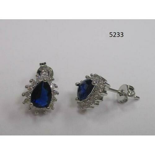 Pear-Shaped CZ Earring Blue