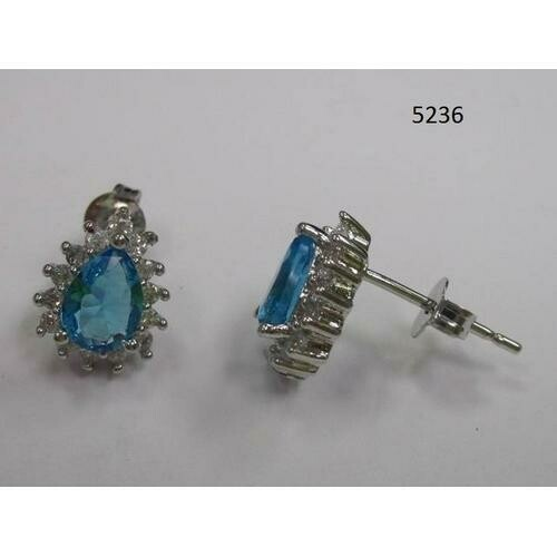 Pear-Shaped CZ Earring Aqua