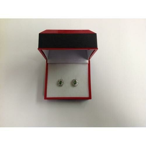 Green CZ Stud Earring in Gift Box