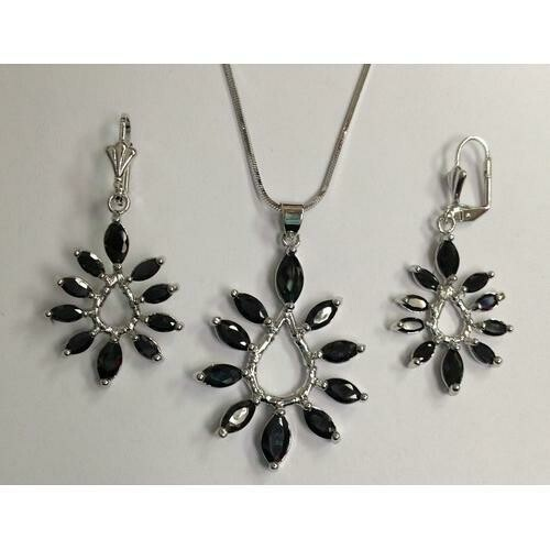 Black Marquise CZ Necklace and Earring Set Rhodium Plated in Gift Box