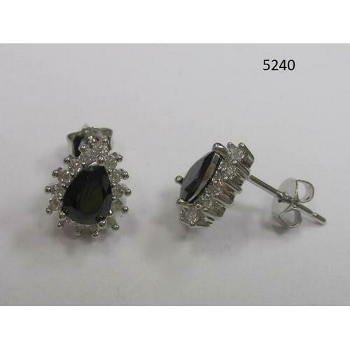 Pear-Shaped CZ Earring Black