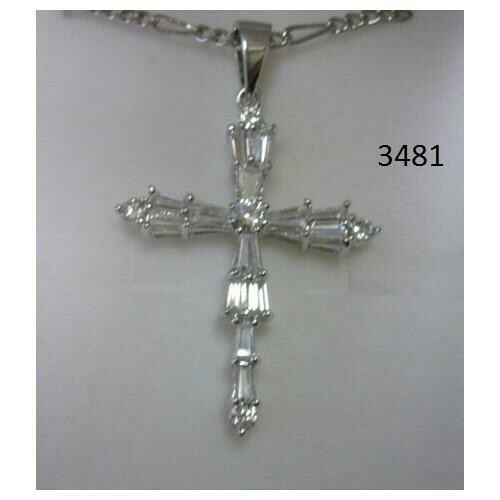 Rhodium Plated Cross Pendant with Baguette CZ on 18