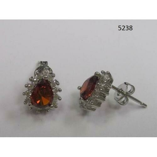 Pear-Shaped CZ Earring Garnet