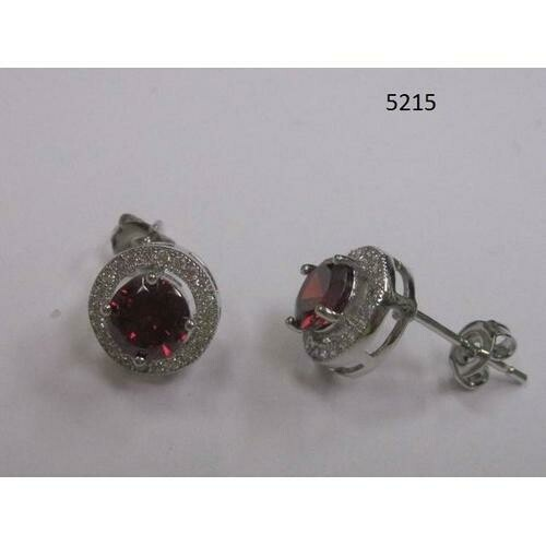Round CZ Earring Red
