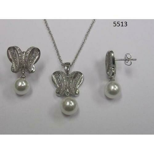 Butterfly Round CZ Necklace and Earring Set with Pearl Rhodium Plated in Gift Box