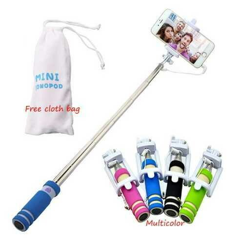 Mini Selfie Stick Universal With Button Wired Sponge Handle Monopod