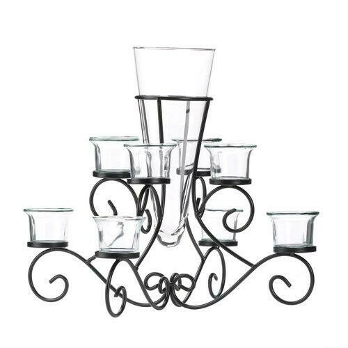 Scrollwork Candle Stand Centerpiece Vase