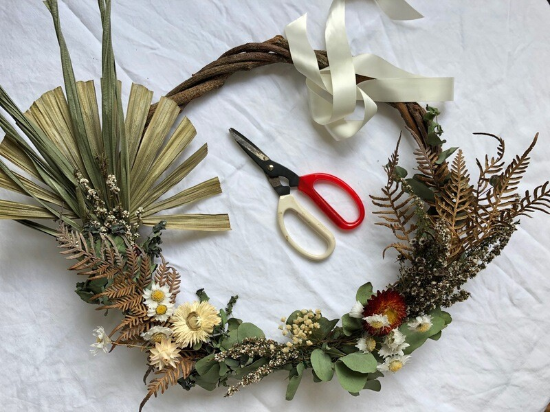Wreath Workshop - Dried - Natural Sunday 6th December at 9:30am