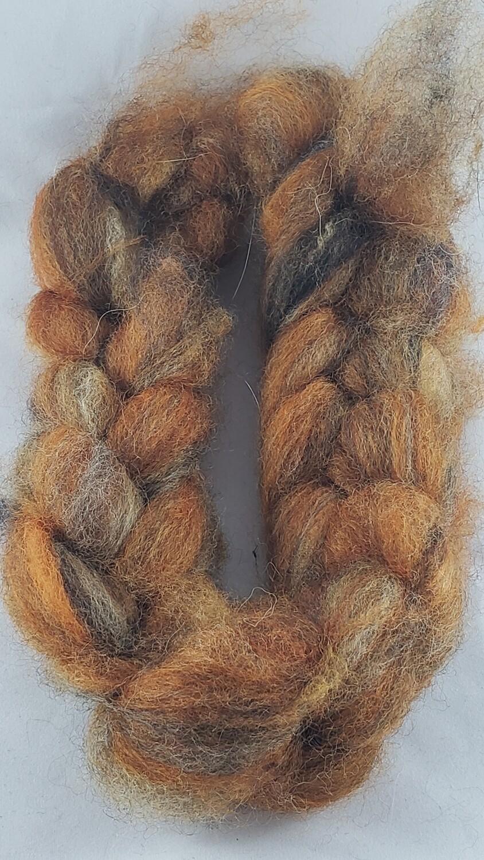 Fools Gold   handdyed fiber braid for spinning