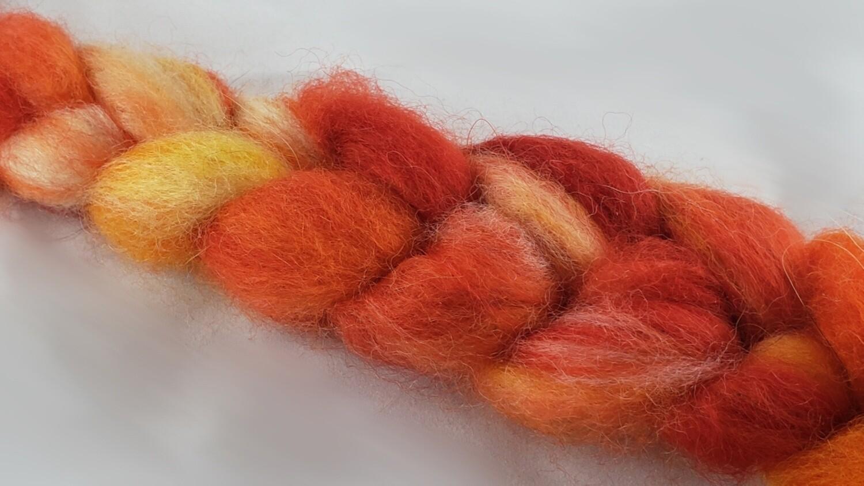 Phoenix Fire | handdyed fiber braid for spinning