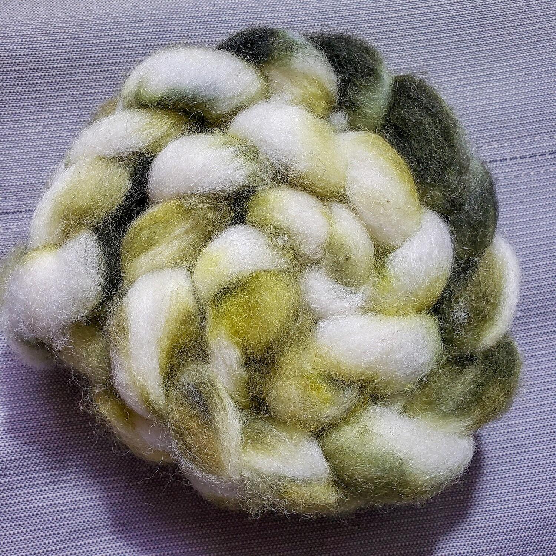 Olives in Snow | handdyed fiber braid for spinning