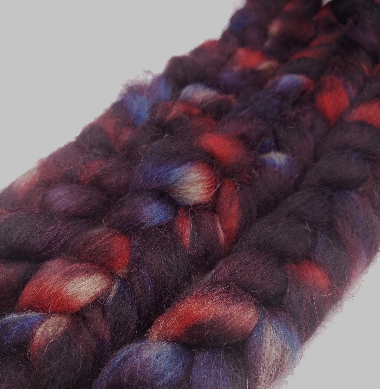 Spidey Senses | handdyed fiber braid for spinning