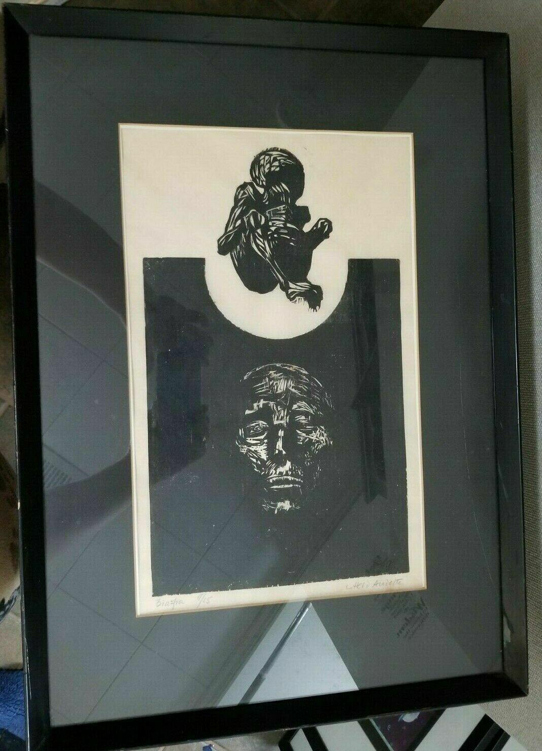 "Biafra African Ink Art Anna Audette 18"" x 25"" Black White Baby Elderly Time Age"