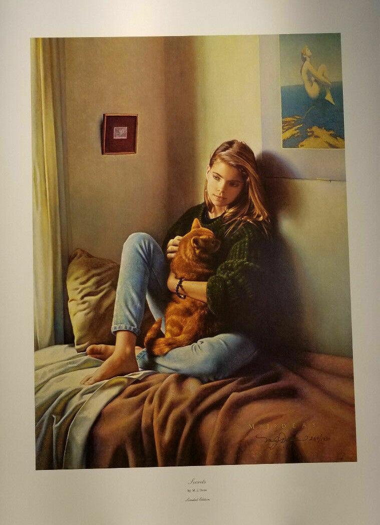 "Secrets by MJ Deas Girl Portrait Bed Signed Numbered M.J. 17.5"" 23.75"" COA"