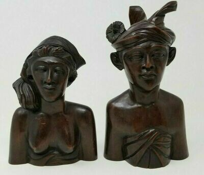 Vintage Carved Mahogany Bali Tribal Man and Woman Headdress