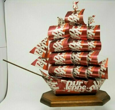 Vintage SS Dr. Pepper Can Ship Model Boat Art
