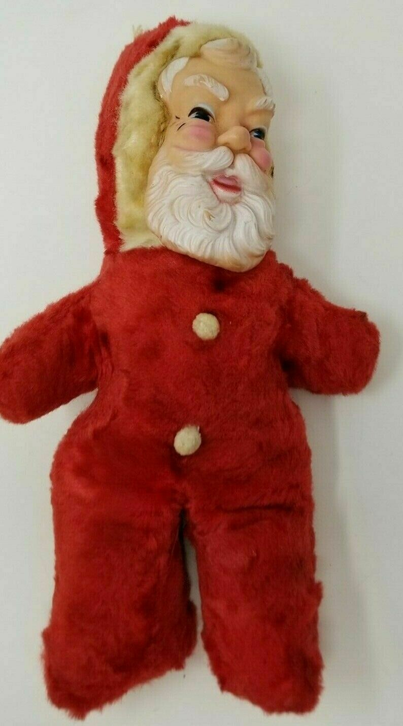 Vintage 1940s Pull Cord Stuffed Santa Creepy Molded Face