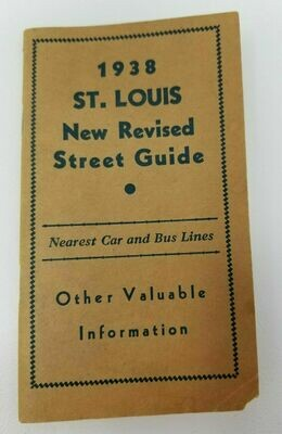 1938 St. Louis New Revised Street Guide Car and Bus Lines Social Diseases