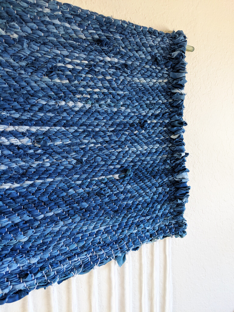 BLUE WAVES HAND-DYED WALL HANGING - RUSTIC INDIGO