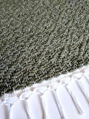 SAGE GREEN WEFT + WHITE WARP - WOVEN RUG