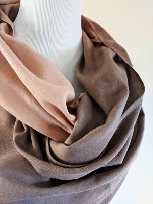 INFINITY SCARF - NATURAL DYE - CARAMEL + CHOCOLATE