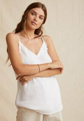 frayed edge camisole white