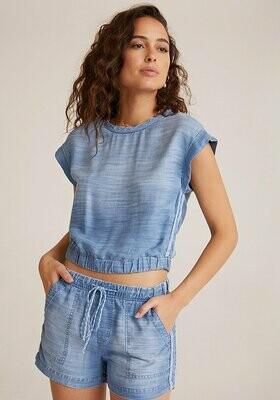 Trimmed Cap Sleeve Pullover - Oceanside Wash